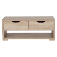 Flash Furniture EV-CT-3710-00-GG Howell Sonoma Oak Woodgrain Coffee Table with 2 Drawers - 39 1/4 inch x 17 3/4 inch x 16 inch