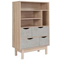 Flash Furniture EV-BC-1080-02-G-GG St. Regis Oak Woodgrain 4 Shelf Bookcase with 4 Gray Drawers - 31 1/2 inch x 15 1/4 inch x 49 inch