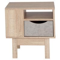 Flash Furniture EV-ST-2847-01-G-GG St. Regis Oak Woodgrain End Table with 1 Gray Drawer - 18 1/2 inch x 16 inch x 19 1/2 inch