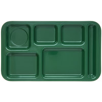 Carlisle 4398208 Melamine Space Saver 9 inch x 15 inch Forest Green Right Hand 6 Compartment Tray