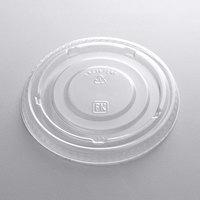 Fabri-Kal Kal-Clear/Nexclear LKC16/24F Clear Flat PET Lid for 5 oz., 8 oz., and 12 oz. Sundae Cups - No Slot - 100/Pack