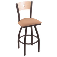 Holland Bar Stool X83025BWNATMPLBAXSSUM Big & Tall Counter Height Black Wrinkle Steel Swivel Barstool with Axis Summer Seat and Natural Maple Back