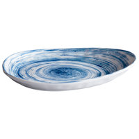 Elite Global Solutions D1172OV Van Gogh Navy 11 1/4 inch x 7 1/2 inch Oval Melamine Plate - 6/Case