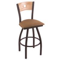 Holland Bar Stool X83025BWNATOAKBALBEWD Big & Tall Counter Height Black Wrinkle Steel Swivel Barstool with Allante Beechwood Seat and Natural Oak Back