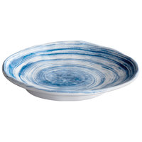 Elite Global Solutions D751OV Van Gogh Navy 7 3/4 inch x 5 5/8 inch Oval Melamine Plate - 6/Case