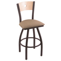 Holland Bar Stool X83025BWNATMPLBREITHA Big & Tall Counter Height Black Wrinkle Steel Swivel Barstool with Rein Thatch Seat and Natural Maple Back