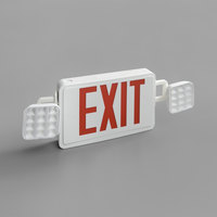 Lavex Industrial Red LED Exit Sign / Emergency Light Combo with Adjustable Arrows and Ni-Cad Battery Backup - 4.2 Watt Unit