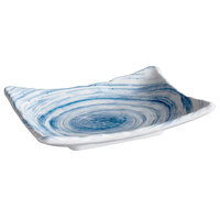 Elite Global Solutions D7525RC Van Gogh Navy 7 1/8 inch x 5 1/4 inch Rectangular Melamine Plate - 6/Case