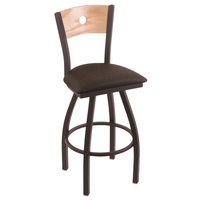 Holland Bar Stool X83025BWNATOAKBREICOF Big & Tall Counter Height Black Wrinkle Steel Swivel Barstool with Rein Coffee Seat and Natural Oak Back