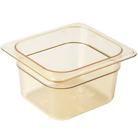 Cambro 64HP150 H-Pan™ 1/6 Size Amber High Heat Plastic Food Pan - 4 inch Deep