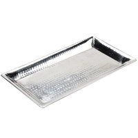 American Metalcraft HMRT1019 18 inch x 9 3/4 inch Hammered Stainless Steel Serving Tray