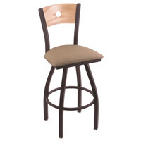 Holland Bar Stool X83025BWNATOAKBREITHA Big & Tall Counter Height Black Wrinkle Steel Swivel Barstool with Rein Thatch Seat and Natural Oak Back