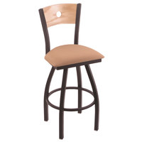 Holland Bar Stool X83025BWNATOAKBAXSSUM Big & Tall Counter Height Black Wrinkle Steel Swivel Barstool with Axis Summer Seat and Natural Oak Back