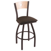 Holland Bar Stool X83025BWNATMPLBREICOF Big & Tall Counter Height Black Wrinkle Steel Swivel Barstool with Rein Coffee Seat and Natural Maple Back
