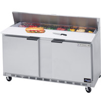 Beverage Air SPE60HC-12C 60 inch 2 Door Cutting Top Refrigerated Sandwich Prep Table with 17 inch Wide Cutting Board