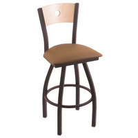 Holland Bar Stool X83025BWNATMPLBALBEWD Big & Tall Counter Height Black Wrinkle Steel Swivel Barstool with Allante Beechwood Seat and Natural Maple Back