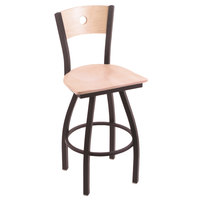Holland Bar Stool X83025BWNATMPLBNATMPL Big & Tall Counter Height Black Wrinkle Steel Swivel Barstool with Natural Maple Seat and Natural Maple Back