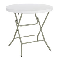 Lancaster Table & Seating 32 inch Round Granite White Heavy-Duty Blow Molded Standard Height Plastic Folding Table