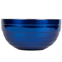 Vollrath 4658725 24 oz. Stainless Steel Double Wall Cobalt Blue Round Beehive Serving Bowl