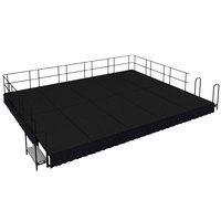 National Public Seating SG481610C-10-SS10 Black Carpet Single Height Portable Stage Group with Black Skirting - 20' x 16' x 1' 4 inch