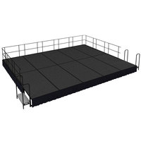National Public Seating SG481610C-02-SS10 Gray Carpet Single Height Portable Stage Group with Black Skirting - 20' x 16' x 1' 4 inch