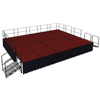 National Public Seating SG483210C-40-SS10 Red Carpet Single Height Portable Stage Group with Black Skirting - 20' x 16' x 2' 8 inch