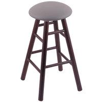 Holland Bar Stool XRC24OSDCALMDGR Big & Tall 24 inch Dark Cherry Oak Counter Height Stool With Allante Medium Grey Swivel Seat And Smooth Legs