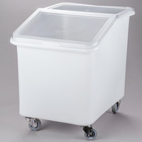 Cambro IBS37148 37 Gallon / 590 Cup White Slant Top Mobile Ingredient Storage Bin with 2-Piece Sliding Lid & S-Hook