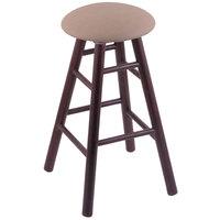 Holland Bar Stool XRC24OSDCREITHA Big & Tall 24 inch Dark Cherry Oak Counter Height Stool With Rein Thatch Swivel Seat And Smooth Legs