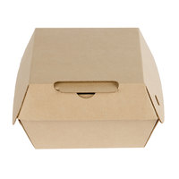 Bagcraft Papercon NAT-F344RAF Eco-Flute 4 inch x 4 inch x 3 inch Corrugated Clamshell Take-Out Box   - 50/Pack