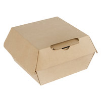 Bagcraft NAT-F344RAF Eco-Flute 4 inch x 4 inch x 3 inch Corrugated Clamshell Take-Out Box - 50/Pack