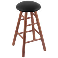 Holland Bar Stool XRC24OSMEDBLKVINYL Big & Tall 24 inch Medium Oak Counter Height Stool With Black Vinyl Swivel Seat And Smooth Legs