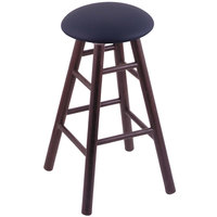Holland Bar Stool XRC24OSDCALDKBL Big & Tall 24 inch Dark Cherry Oak Counter Height Stool With Allante Dark Blue Swivel Seat And Smooth Legs