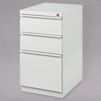 Hirsh Industries 19353 White Mobile Pedestal Letter File Cabinet with 2 Box Drawers and 1 File Drawer - 15 inch x 19 7/8 inch x 27 3/4 inch