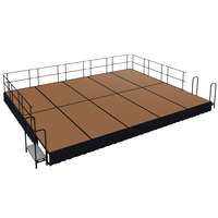 National Public Seating SG481610HB-SS10 Hardboard Floor Single Height Portable Stage Group with Black Skirting - 20' x 16' x 1' 4 inch