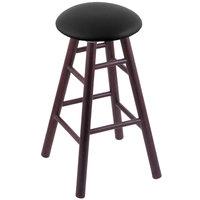 Holland Bar Stool XRC24OSDCBLKVINYL Big & Tall 24 inch Dark Cherry Oak Counter Height Stool With Black Vinyl Swivel Seat And Smooth Legs