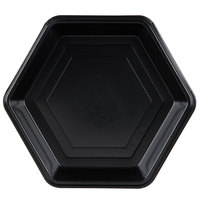 Genpak HX009-3L Smart-Set 9 inch Black Hexagonal Shallow Foam Serving Tray - 200/Case