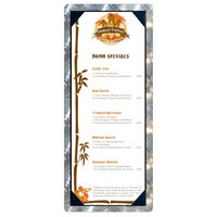 4 1/4 inch x 11 inch Menu Solutions ALSIN41-PIX Single Panel Swirl Aluminum Menu Board with Picture Corners