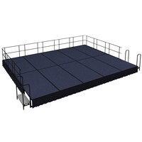 National Public Seating SG481610C-04-SS10 Blue Carpet Single Height Portable Stage Group with Black Skirting - 20' x 16' x 1' 4 inch