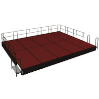 National Public Seating SG481610C-40-SS10 Red Carpet Single Height Portable Stage Group with Black Skirting - 20' x 16' x 1' 4 inch