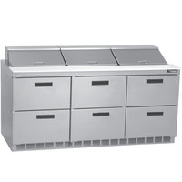 Delfield D4472N-18 72 inch 6 Drawer Refrigerated Sandwich Prep Table