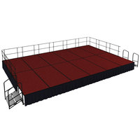 National Public Seating SG482412C-40-SS10 Red Carpet Single Height Portable Stage Group with Black Skirting - 24' x 16' x 2'