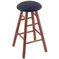 Holland Bar Stool XRC24OSMEDALDKBL Big & Tall 24 inch Medium Oak Counter Height Stool With Allante Dark Blue Swivel Seat And Smooth Legs