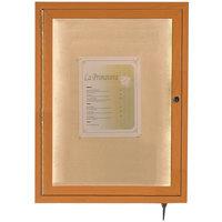 Aarco LWL2418O 24 inch x 18 inch Oak Finish Lighted Bulletin Board Cabinet
