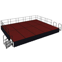 National Public Seating SG482410C-40-SS10 Red Carpet Single Height Portable Stage Group with Black Skirting - 20' x 16' x 2'