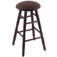 Holland Bar Stool XRC24OTDCREICOF Big & Tall 24 inch Dark Cherry Oak Counter Height Stool With Rein Coffee Swivel Seat And Turned Legs