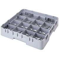Cambro 16C414151 Camrack 4 1/4 inch Soft Gray Customizable 16 Compartment Full Size Cup Rack