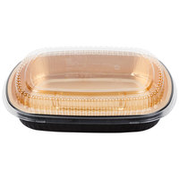 Durable Packaging 9553-PT-50 Large Black and Gold Black Diamond Foil Entree / Take Out Pan with Dome Lid - 50/Case