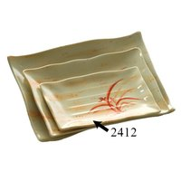 Thunder Group 2412 Gold Orchid 11 1/4 inch x 7 1/4 inch Rectangular Melamine Wave Plate - 12/Pack