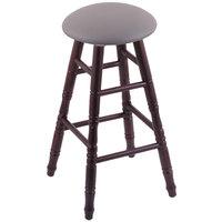 Holland Bar Stool XRC24OTDCALMDGR Big & Tall 24 inch Dark Cherry Oak Counter Height Stool With Allante Medium Grey Swivel Seat And Turned Legs